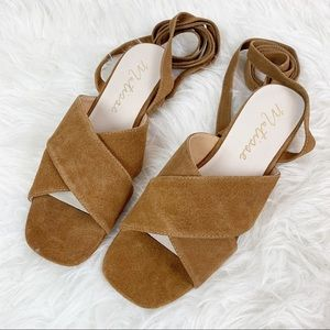 MATISSE Suede Leather Camel Sandals Ankle Straps 9